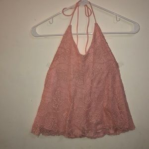 Tops - Light pink lace halter top